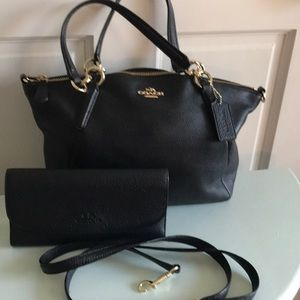 Coach leather handbag and matching wallet
